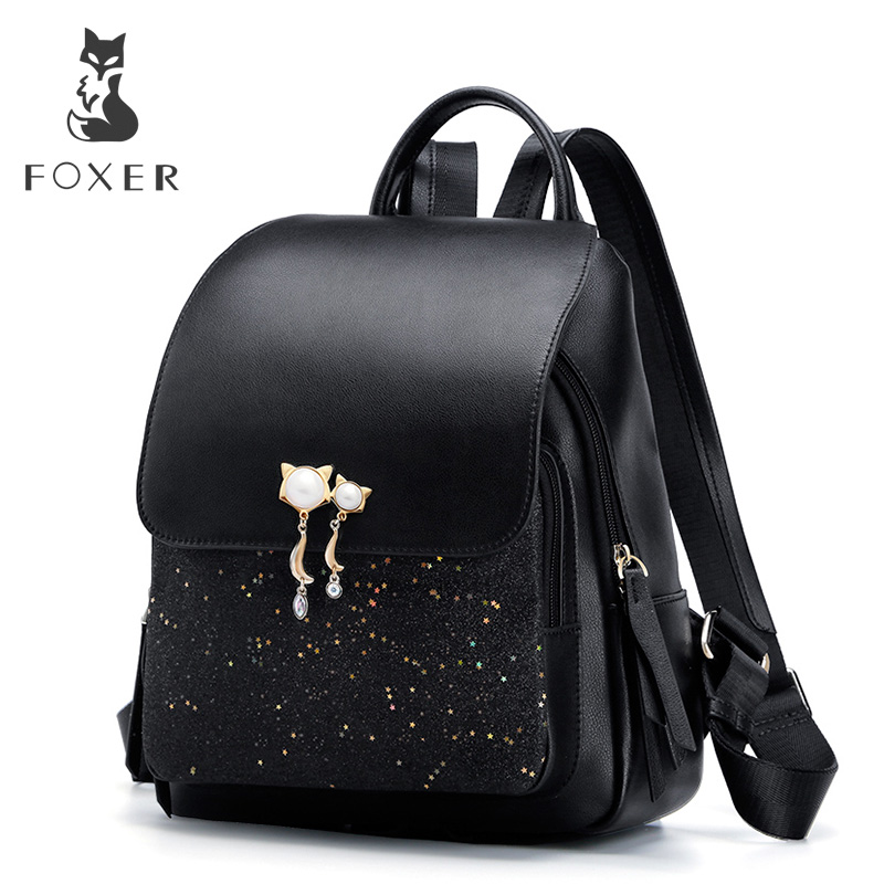 FOXER Brand Women Patchwork Zipper Large Capacity Backpack New Design Female College Bags Teenage Girls School