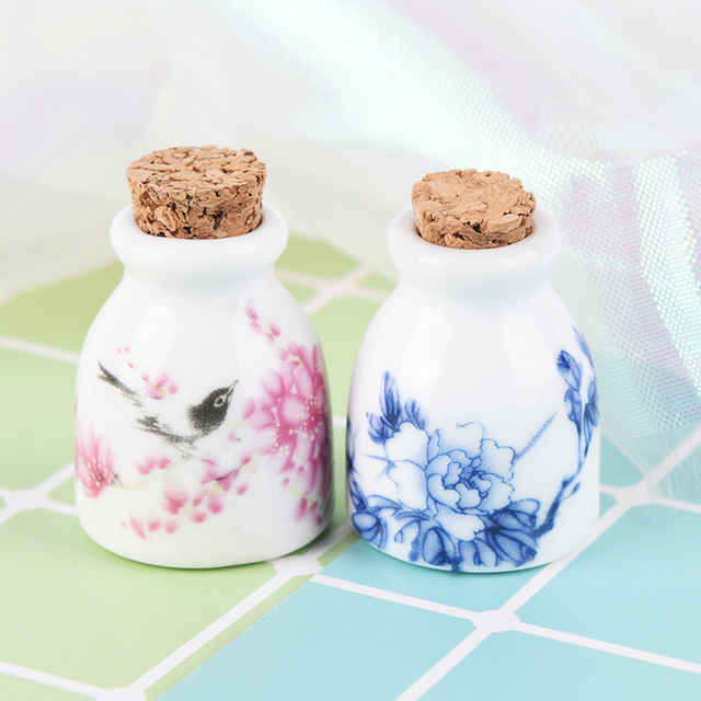 DIY Nail Art Tools Peony/Magpie Mini Ceramic Glass Dappen Dish Bowl Cup With Wood Lid Acrylic Liquid Glitter Powder Bottle