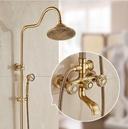 New Arrival Deluxe Carving Retro Style Solid Brass Bathroom Shower Faucet Set Wall Mounted Dual Handle Rainfall Shower Mixer Tap