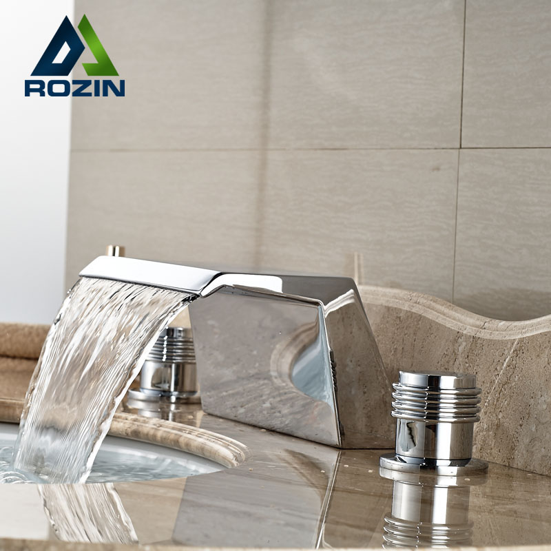 ФОТО Bathroom Waterfall Spout Basin Sink Faucet Deck Mount Dual Handle Mixer Taps Chrome Finish