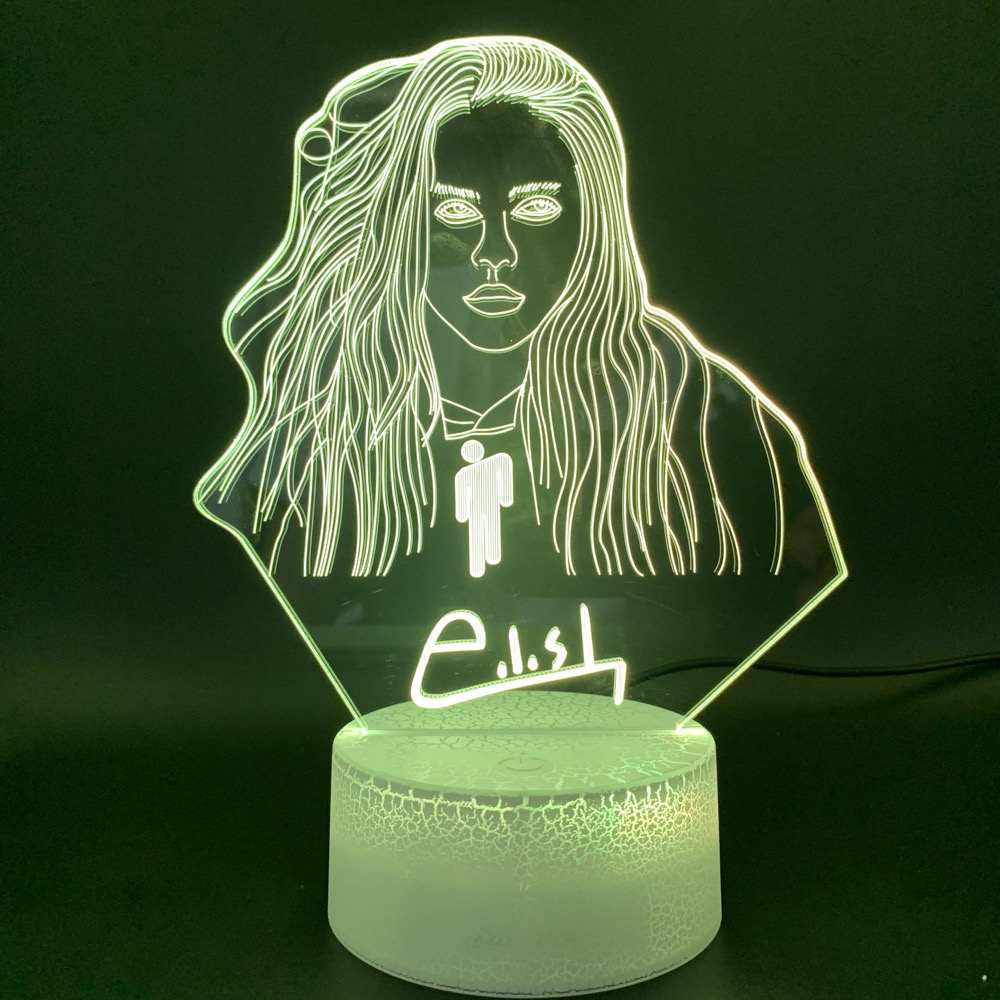 3D Illusion Led Night Light Lamp Billie Eilish Figure Office Room Decor Table Lamp Dropshipping 2019 Fans Gift Nightlight Custom