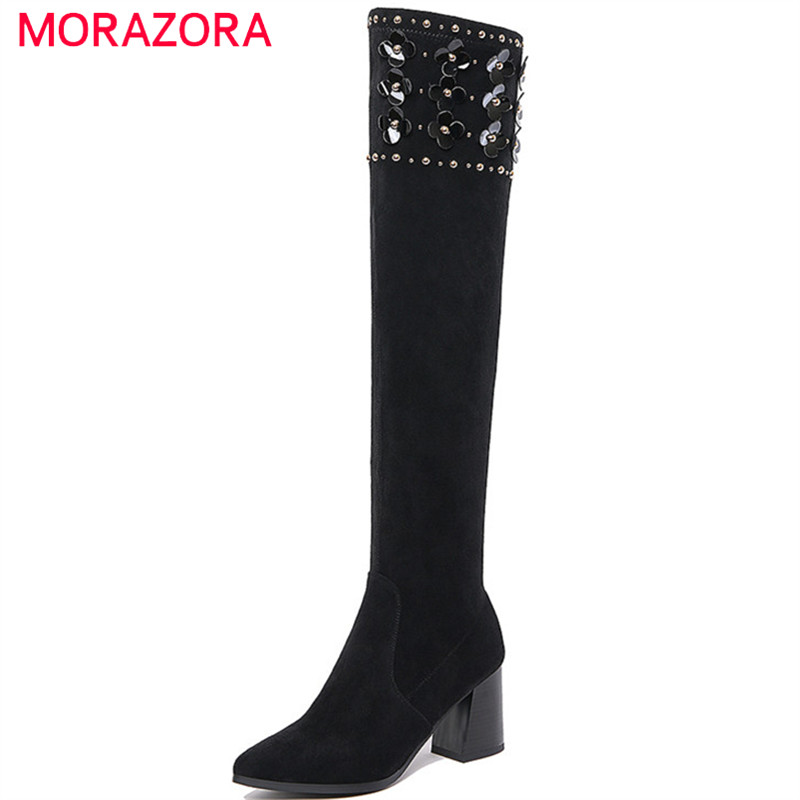 MORAZORA Large size 34-41 cow suede leather boots high heels shoes woman over the knee boots fashion elegant womens boots morazora ankle boots for women fashion shoes woman cow suede leather boots solid zipper platform womens boots size 34 40