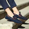 2016 nuevos hombres de los holgazanes gommini zapatos de conducción de cuero de grano completo de cuero genuino transpirable hombres zapatos mocasines casuales