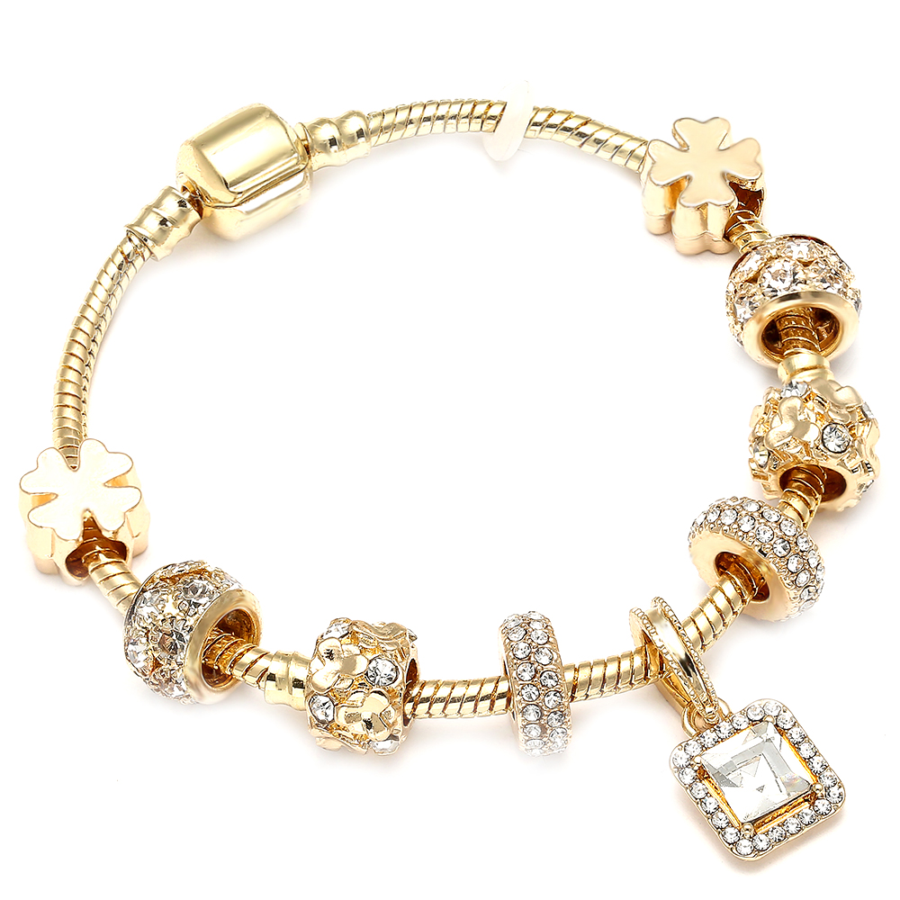 Luxurious Plated Gold Charms Bracelet for Crystal Pandora Bracelets Bangles Diy Woman Weddding Jewelry Accessories Female