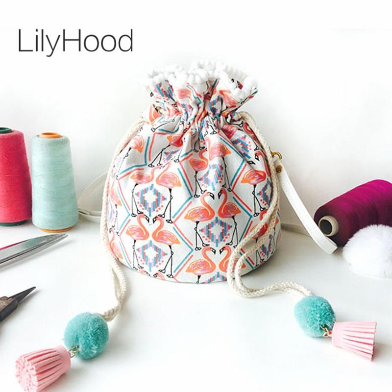 Detail Feedback Questions about LilyHood Women Summer Cute Bucket Shoulder  Bag Beach Fashion Trendy Canvas Fabric Flamingo Printing Pom Pom String  Crossbody ... 34c1ade86986