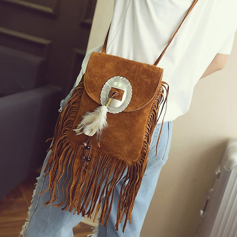 Female Small Suede Bag Beaded Feathers Hippie American Indian Tribal Bohemian Boho Chic Ibiza Style Pouch