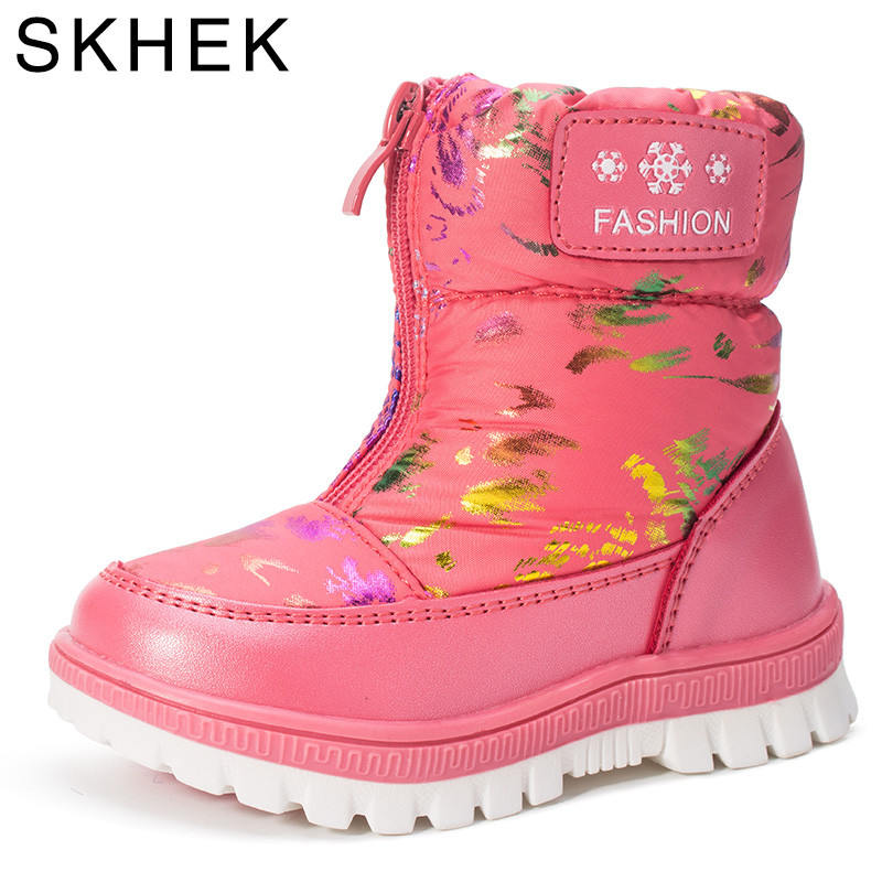 Image 3 - SKHEK Kids Girls Boots For Girl  Boys Winter Rubber Soft Wool Shoes Kid Ankle Snow Boot Leather Children Black Blue F17310-in Boots from Mother & Kids