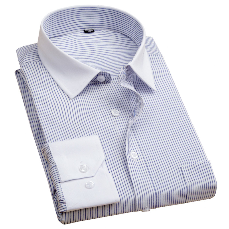 2019 Frühling Herbst Männer Langarm Business Kleid Shirts Männer Shirts Striped Männlich Casual Shirts Arbeits Tragen Slim Fit SorgfäLtige FäRbeprozesse