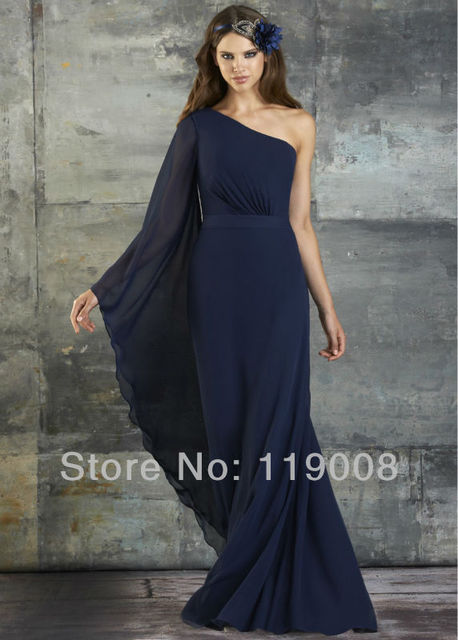 Custom Made Formal Party Dress One Shoulder Long Sleeve Floor ...