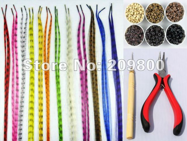 "set/24s 16"" High qulity Grizzly  feather  synthetic hair extentions+one plier and wooden plier+24pcs silicone micro rings"