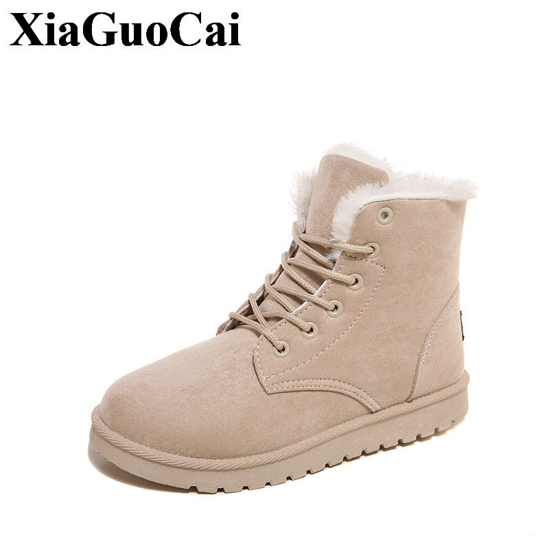 New Fashion Winter Snow Boots Women Shoes Ankle Boots Comfortable Round Toe Lace-up Flat Shoes Solid Casual Cotton Shoes H402 35 women sneakers fall front lace up casual ankle boots autumn shoes canvas round toe trend ladies booties 2017 red flat short new