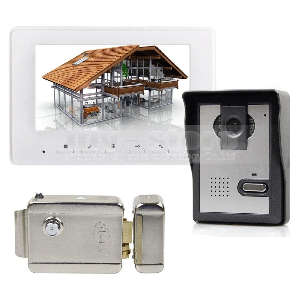 DIYSECUR Electric Lock 7inch Video Intercom Video Door Phone Doorbell 1 font b Camera b font