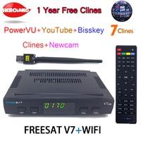 [Подлинный] freesat V7 DVB-S2 HD с USB Wi-Fi Спутниковые антенны Поддержка powervu BISS KEY + 7 резких перемен температуры Youtube Youporn декодер каналов кабельного тел...