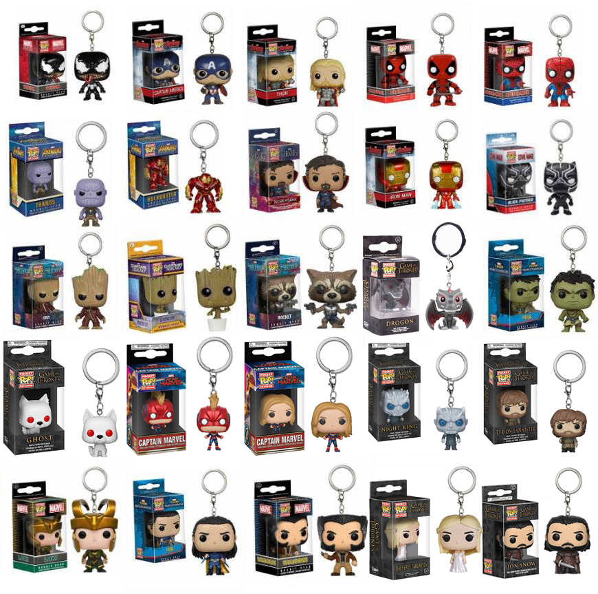 POP Tasche Keychain Die Avengers 4 Endgame Zeichen Captain Marvel Iron Man Thanos Game Of Thrones Action Figur Spielzeug Modell