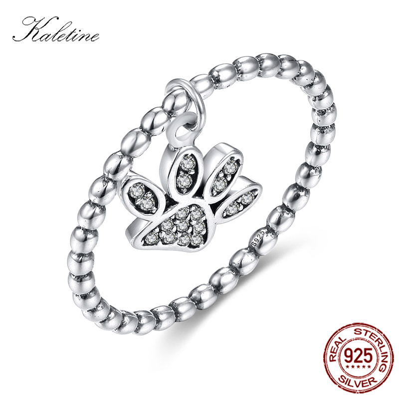 Puppy Cat Paws Ring Sterling 925 Silver Ring With Little