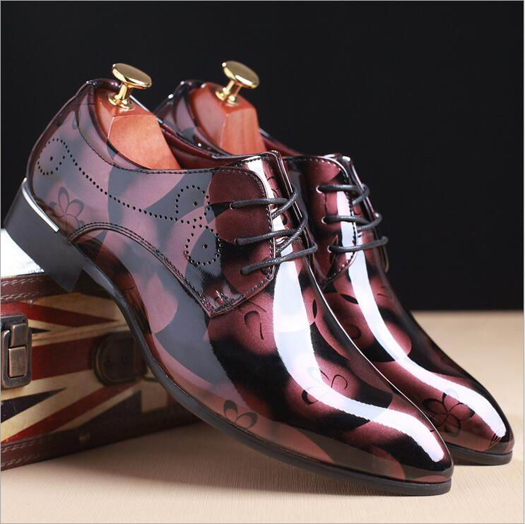 ERRFC Fashion Blue Men Wedding Shoes Pointed Toe PU Leather Shoes Man Plus Size 12 13 14 For Party Shoes 4Colors Silver Red-in Men's Casual Shoes from Shoes    3