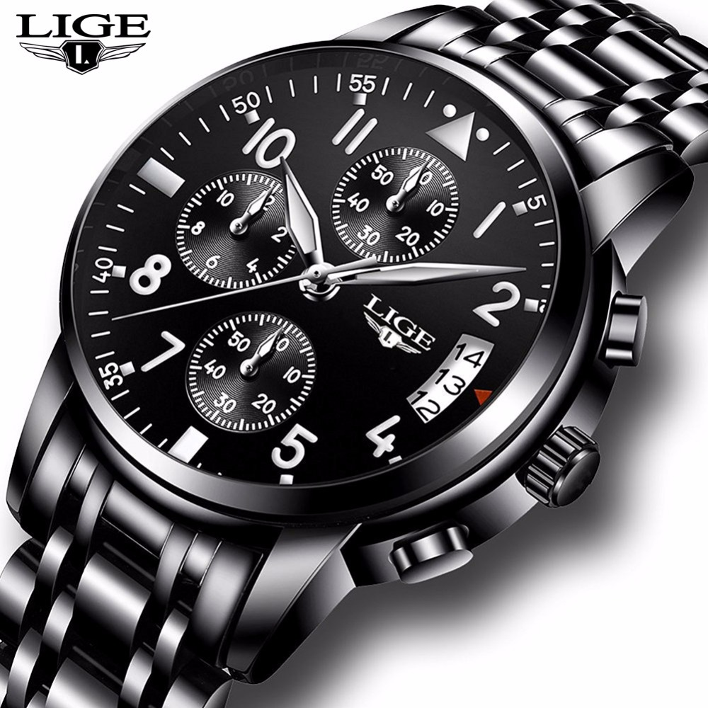 купить Men Watches LIGE Top Brand Luxury Full Steel Quartz Watch Men Casual Waterproof Military Sport Watch Male Relogio Masculino+Box по цене 1631.26 рублей