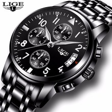LIGE dos homens Relógios Top Marca de Luxo Completa de Aço Relógio de Quartzo Esporte Militar Relógio Masculino Relogio masculino Dos Homens Casuais À Prova D' Água + caixa