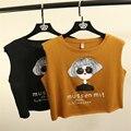 Nuevo Tanque de Las Mujeres Tops Letras Impresas Lindo Estilo Crop Tops Señora Camisetas de Verano Casual de las Camisetas de Las Mujeres Camisas Cortas
