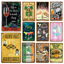 Tiki Bar Surf Club cóctel fiesta decoración cerveza vino tinto Metal cartel estaño carteles whisky placa pared vintage arte publicidad placa