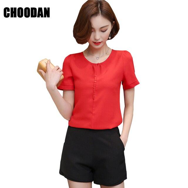 Manga corta de gasa blusa camisa mujeres Tops 2018 nueva verano estilo  coreano Oficina señora Solid 3305edbac3c7