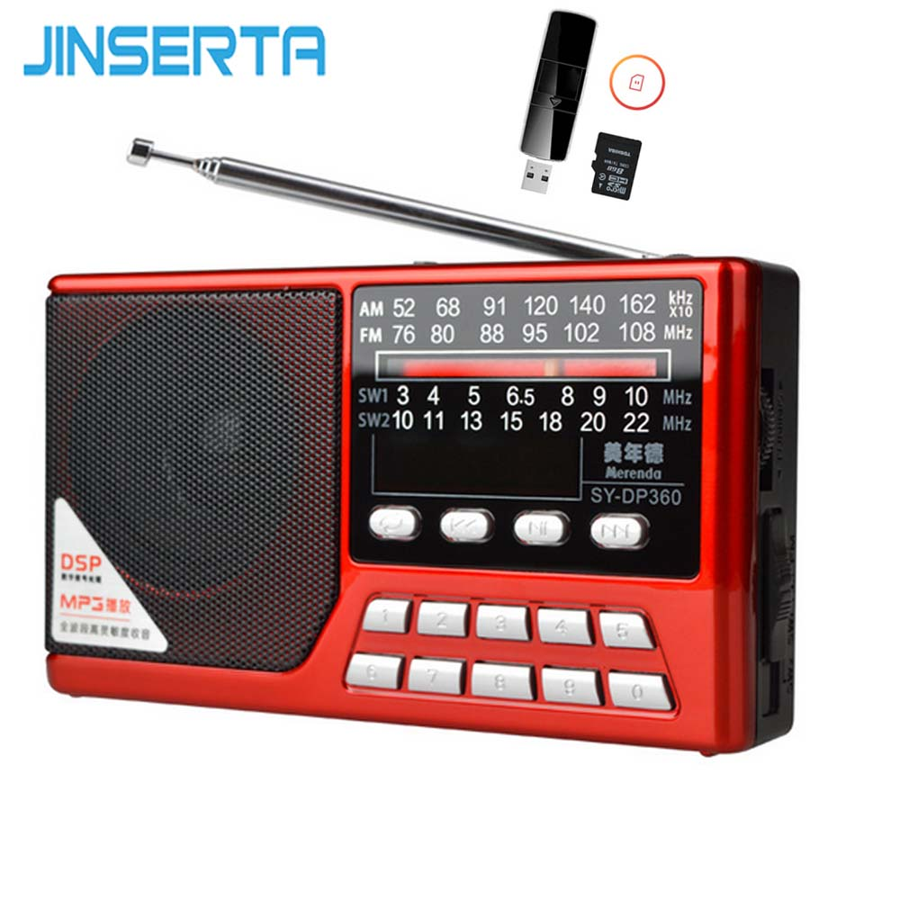 JINSERTA FM/MW/SW Stereo Radio Mp3 Digital Radio Music Player Rechargeable Battery with TF Card Slot Support U Disk Play degen de1127 radio digital fm stereo receiver mw sw am with 4gb mp3 player mini digital radio recorder u disk e book d2975a