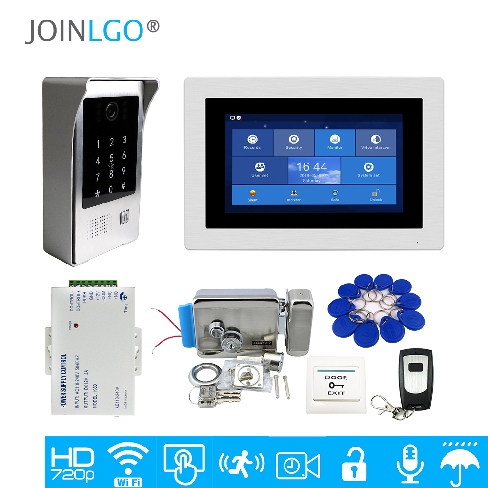 Free Shipping WIFI IP 7 Touch Screen LCD Video Intercom Door Phone Record Kit Code Keypad
