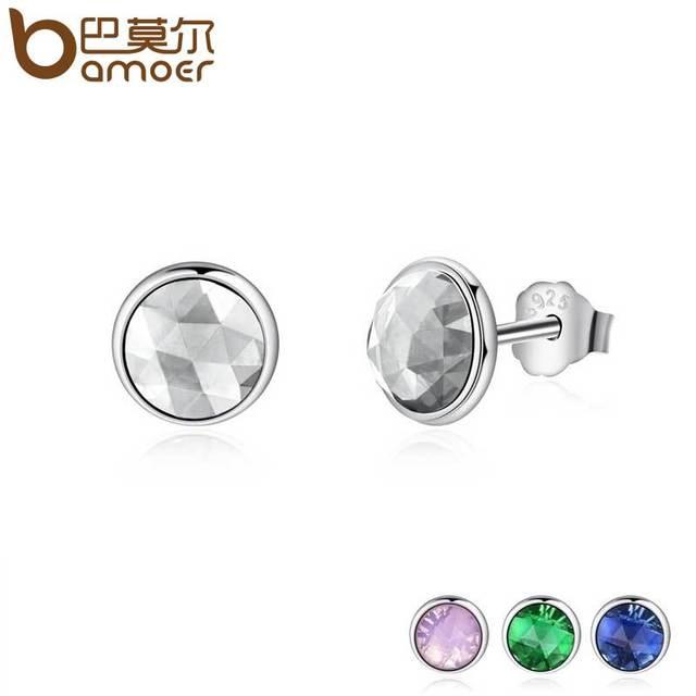 0b60d520b BAMOER Popular 925 Sterling Silver April Birthstone Droplets, Rock Crystal Stud  Earrings For Women Fashion