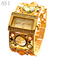 2017 asj marca señora pulsera relojes mujer vestido de cuarzo reloj de moda casual reloj de diamantes de oro de lujo relogio feminino