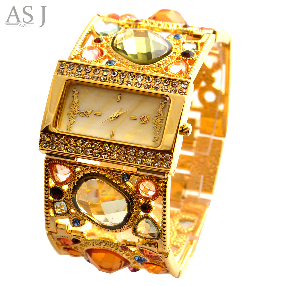 ASJ Brand Lady Bracelet Watches Women Luxury Gold Fashion Casual Clock Diamond Dress Quartz Wrist watch Relogio Feminino duoya fashion luxury women gold watches casual bracelet wristwatch fabric rhinestone strap quartz ladies wrist watch clock