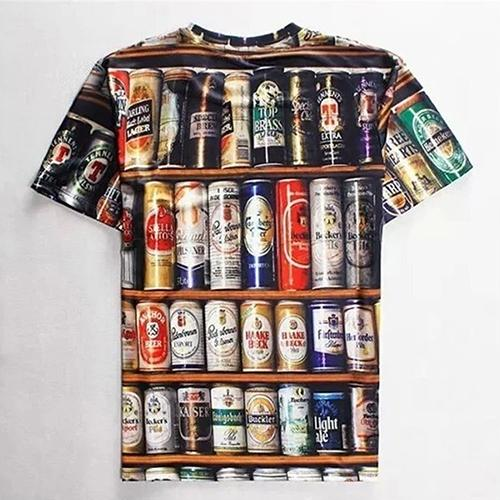 Men Summer Fashion Hip-Hop Bottles Pattern Print Short Sleeve Tee Casual T-Shirt