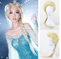 New Arrival Women Synthetic Cosplay Hair Long Curly Wig Snow Queen COS Braided Hair Elsa Blonde Long Anime Wigs Drop Shipping