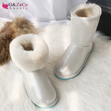 Winter Sheepskin Wool In One Fur Boots Women  Winter Boots Middle Calf  Boots Girls Warm Genuine  Leather Natural Fur Boots