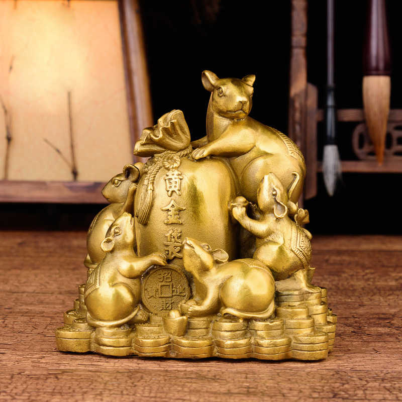 Chinese Fengshui Handmade Brass Mouse Rats With Gold bag Statue Wealth Figurine Home Decor Collectible Figurine Gift