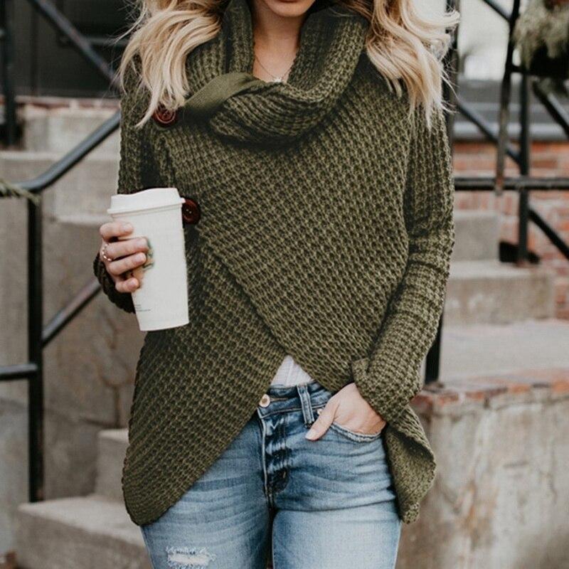 2018 Autumn Winter Turtleneck Knitting OL Commute Fashion Cotton Pullover  Solid Cardigan Sweater Women Knitwear Streetwear – Rebelwear 43c9971bd