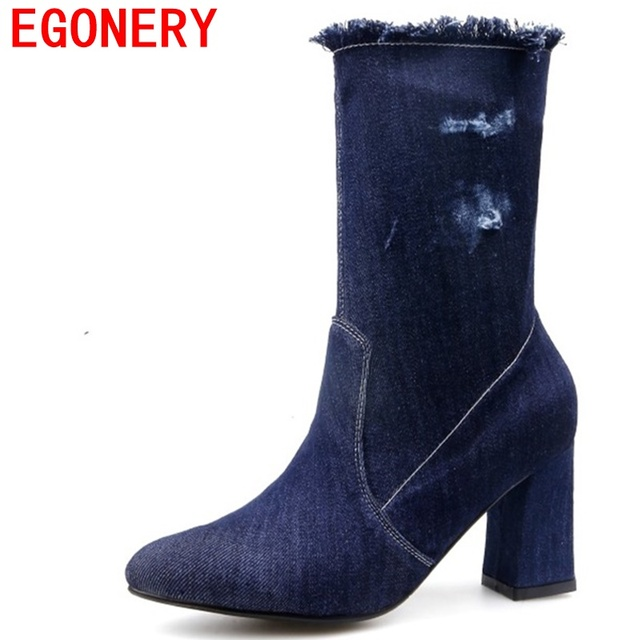 EGONERY fashion boots woman mid calf denim shoes round toe square high heels 2017 shoes ladies party pumps winter sexy footwear