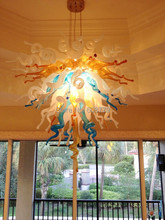 Free Shipping Cheap Colored Glass Modern Chandelier Crytal Lotus Light