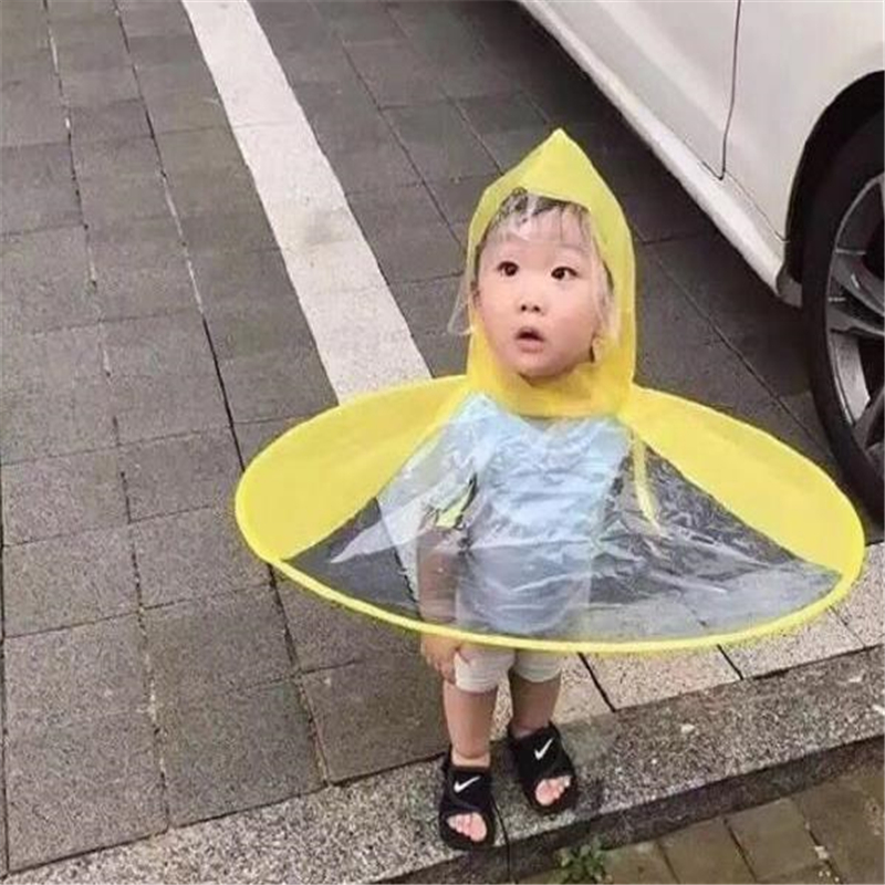 Creative Children Adult Animation UFO Umbrella Sleeveles Hat Raincoat Yellow Duck Flying Saucer