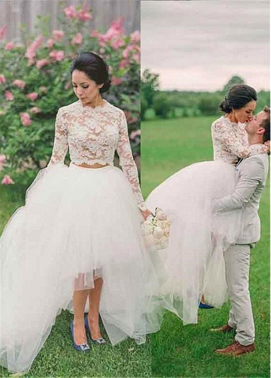 Fashionable Lace & Tulle Jewel Neckline See-through Two-piece Hi-li Wedding Dress Long Sleeves Bridal Dress Vestido De Formatura