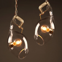 1 Pcs Showcase Novelty Lock Pendant Lamp Dining Room Long Chain Glass Shade Led Stair Light