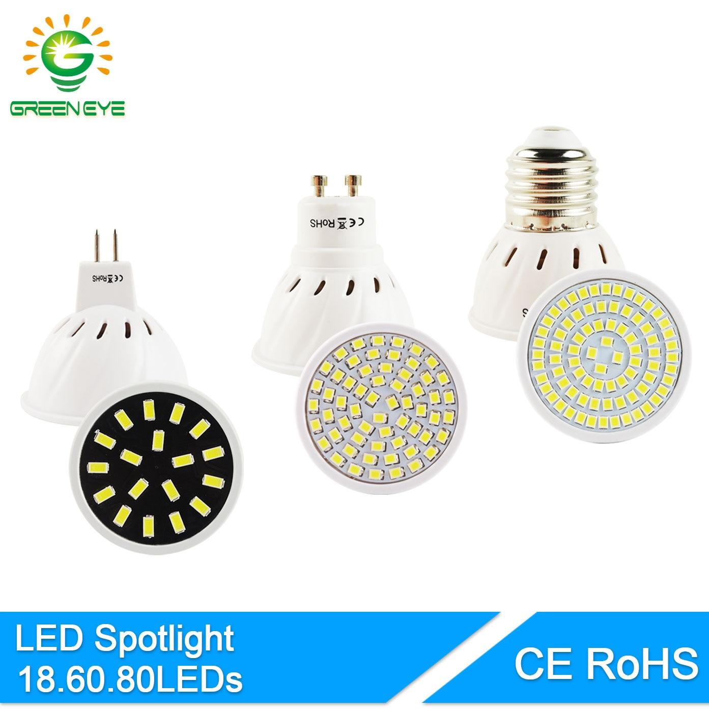 GreenEye Bombilla LED GU5.3/MR16 GU10 E27 AC 220V/110V 3W 4W 6W 8W SMD 5733/2835 LED Spotlight Bulb Lampada Ampoule Lamp Lampara