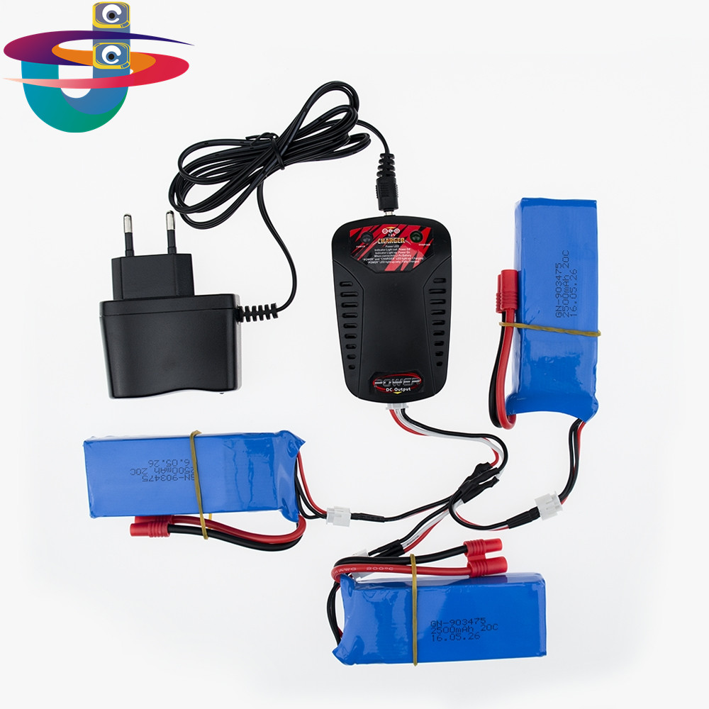 3pcs Upgrade 25C 7.4v 2500mah Lipo Battery For Syma X8 X8C X8W X8G RC Quadcopter Parts Drone + 3 In 1 Charge Cable+ Charger стоимость