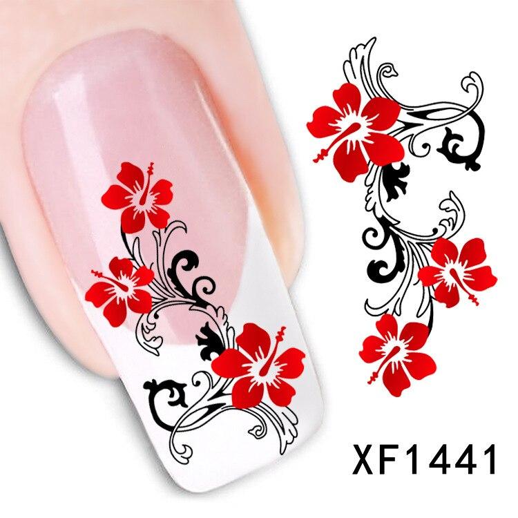 ₪flower design Water Transfer Nails Art Sticker decals lady women ...