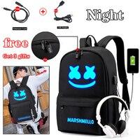 Светящаяся сумка DJ Marshmallow рюкзак многофункциональная зарядка через USB для подростков мальчиков студентов девочек школьные сумки Дорожная с...