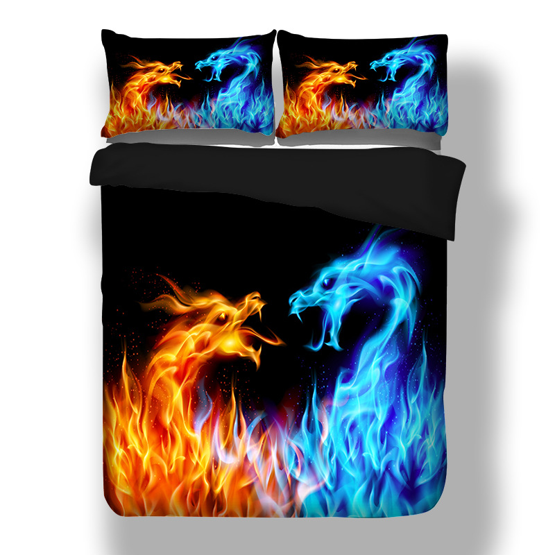 Power Source Contemplative 3d Blue Fire Water Dragon Design Twin King Queen Double Bedclothes Duvet Cover Blue Ice Firebdargon Desing Men/boys Bedlinen Set Superior Performance