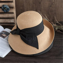 Big bow straw hat female summer big along the foldable visor holiday leisure basin cap fisherman hat sun hat
