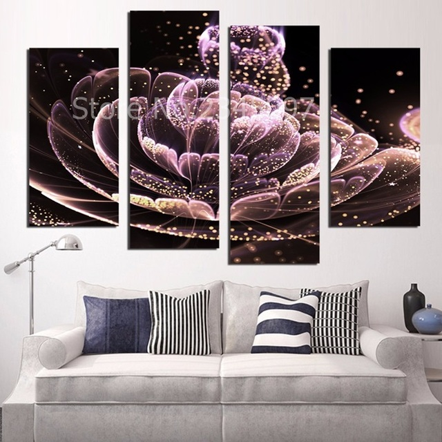 4PCS Canvas Painting Purple Flower Paintings For Living Room Beauty Picture  On The Wall Canvas Printed Part 46