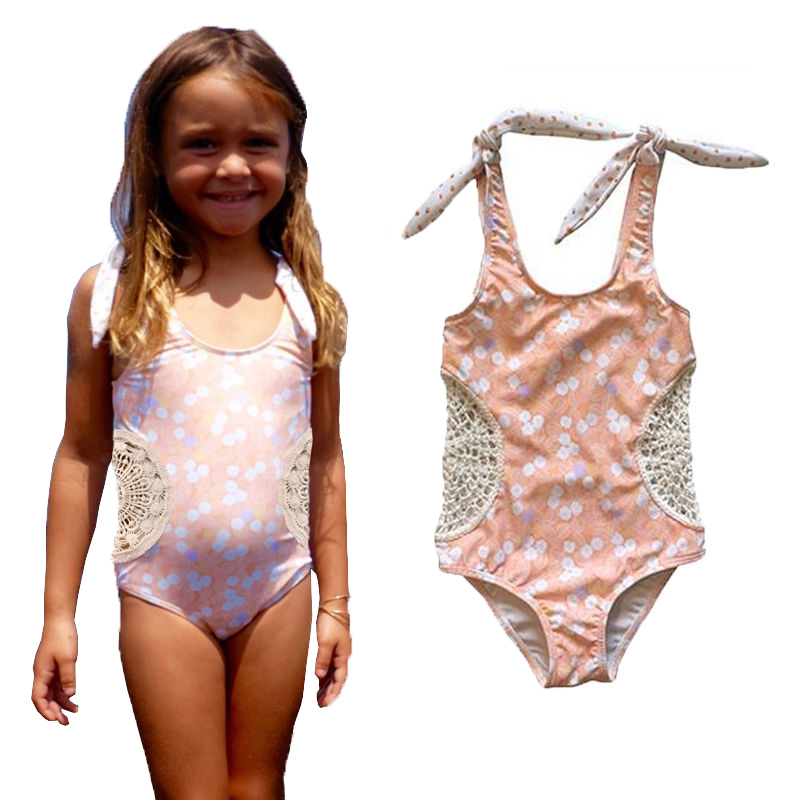 2017 Little Girls One-piece Polka Dots Swimsuit Baby Girl  Holllow Out Beachwear Bathing Suit  Swimwear Swimmers Bikini Costume one piece mexican bola cage cell little girl harmony angel caller sound bell necklace