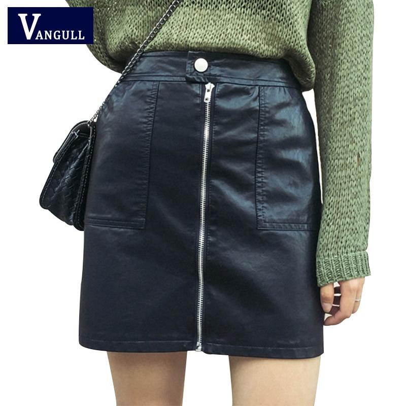 Women Sex Pu Pockets Zipper Decorate Mini Skirts Ladies -7713