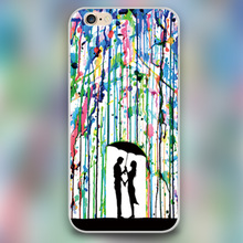 The lover in color rain Design black skin case cover cell mobile phone cases for iphone